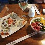 Sushi and tuna poke bowl