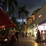 Sidewalk between outdoor seating and the restaurant
