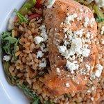 Grilled Salmon and Warm Farro Salad, May-June Menu 2018