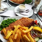 Fish, chips and peas with side salad ,,,Delicious