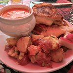 Tomato soup, wonderful potato salad, 4 cheese grilled YUM!