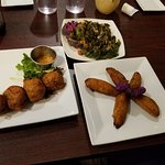 Callaloo, plantains, conch fritters