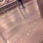 Cigarette butts on train platform