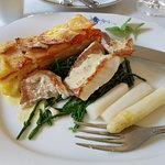 Redfish filet baked on the skin w/ egg butter sauce, samphire, white asparagus, carrot potato gr