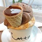 Com a maravilhosa casquinha de chocolate Belga...
