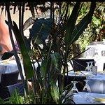 Lush outdoor dining