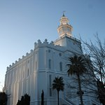 A side view of the Mormon Temple
