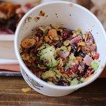 Broccoli salad, brisket, half chicken