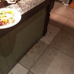 Food all over the floor and not being cleared up by staff.
