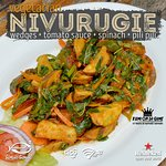 wedges + tomato sauce +spina+ pilipili It is called Nivurugie from Vegetarian