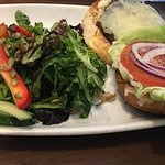 Heritage burger with salad