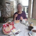 Delicious Blackcurrant and earl grey sponge cake and warm scones