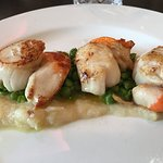 Scallops on a bed of pureed parsnip, blue cheese, peas etc