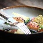 Pan seared scallop, squid ink gnocchi,  chorizo foam, dill (317062917)