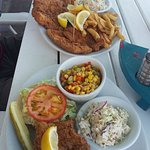 Top Amberjack, Mahi Grouper platter. Bottom Grouper Sandwich