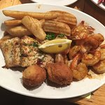 Shrimp and Mahi with a bourbon glaze with Hushpuppies and French Fries