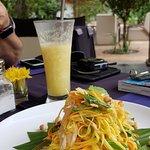 Delicious papaya salad and pineapple lemongrass juice!