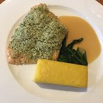 Salmon with sauce and Beurre Blanc, Sounach and Polenta.