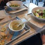 Salads, pea soup & half a sandwich.