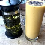 Pandan Tea and Mango Turmeric GInger smoothie