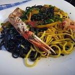 Linguines aux crevettes et langoustines très bien garnie