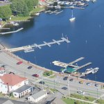 Aerial view of the Causeway, Naples Maine
