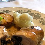 Prune stuffed chicken with mushroom sauce