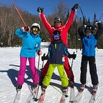 Kids with ski instructor Sylvain Degers