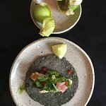 Hand-pressed tortillas and homegrown tomatillos !