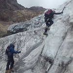 Ice climbing practice in Cayambe glacier.