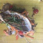 Peixe de rio na cama de cogumelos e camarões