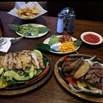 Chicken and Sirloin Fajitas.