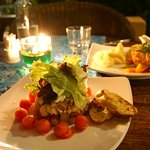 Chicken-feta-melon salad, fish of the day & mashed potatoes