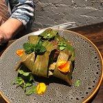 Smoked Lamb Shoulder with black garlic polenta and Braised Cabbage