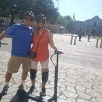 During the tour, we stopped at several historic locations.  Here we are in front of the Alamo.