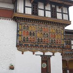 Beautiful wood artwork, Rinpung Dzong Paro, Bhutan.