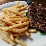 Steak dinner with fries