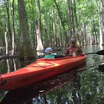 Double kayak with 4 yo in front