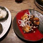 Stilvolle Speisekarte (und leckerer Inhalt), heimische und koreanische Küche (Chili-Honig-Hähnch