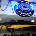 Lots of trophy fish on display at Jack's Restaurant.