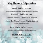 Top of the Park Restaurant Hours of operations for the month of May