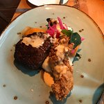Filet and fried chicken lobster tail combo
