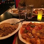 Sweet and sour shrimp and fried rice