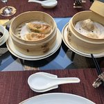 Spicy beef potstickers and Traditional Shanghai soup dumpling (pork)