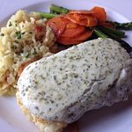 Breaded Halibut with Pesto Cream Sauce