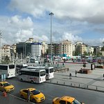 The view of Taksim Square from the breakfast restaurant .