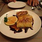 flambeed pancake with banana and rum