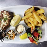 Fresh Flame Grilled Tuna served with homemade aioli, pesto, salad, coleslaw and chips or rice.