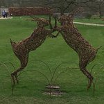 Willow sculptures of hares