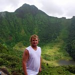 Todd standing on the Volcano Crater rim of Mt. Liamuiga St. Kitts West Indies